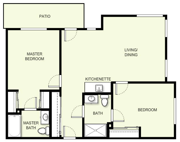 975 sq. ft. C1 floor plan