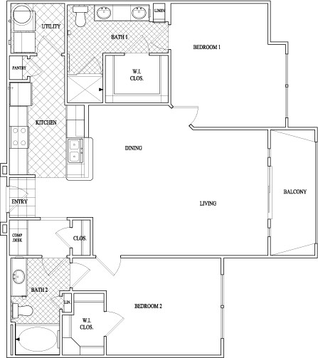 1,177 sq. ft. floor plan