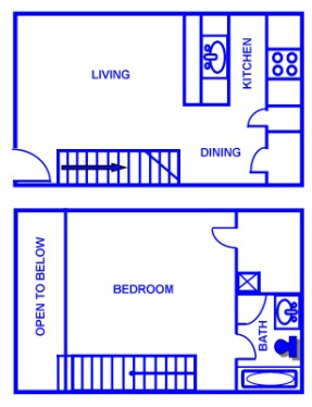 751 sq. ft. D/60% floor plan