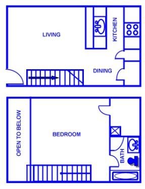 751 sq. ft. D/60% floor plan