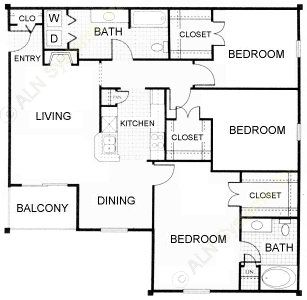1,200 sq. ft. Florentine floor plan