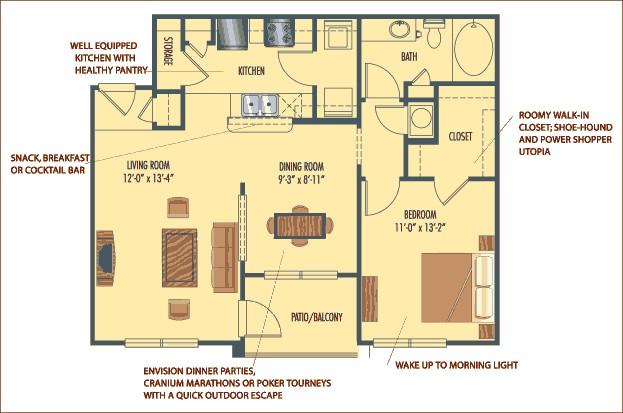 831 sq. ft. Barcelona floor plan