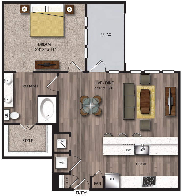 928 sq. ft. A12.1 floor plan
