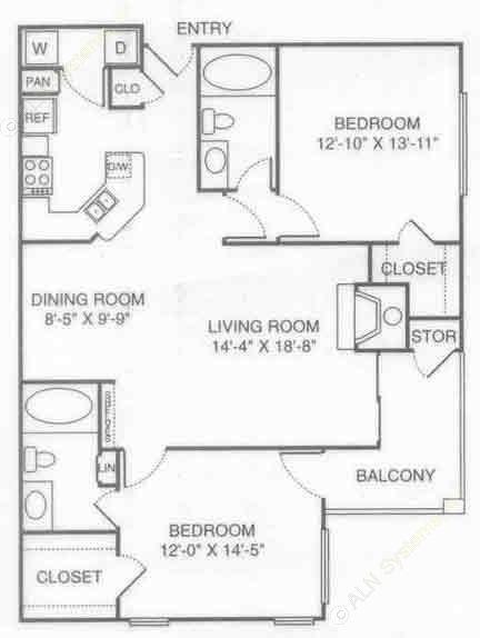 1,158 sq. ft. Fountain floor plan