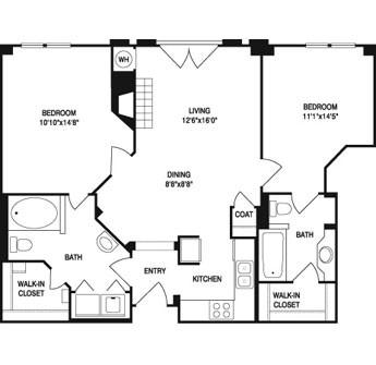 988 sq. ft. floor plan