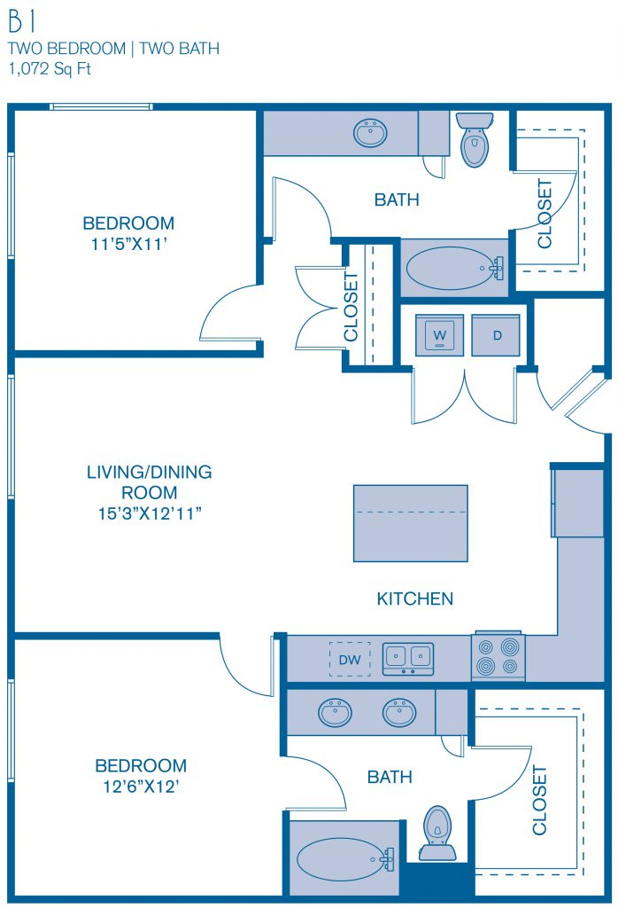 1,072 sq. ft. B1 floor plan