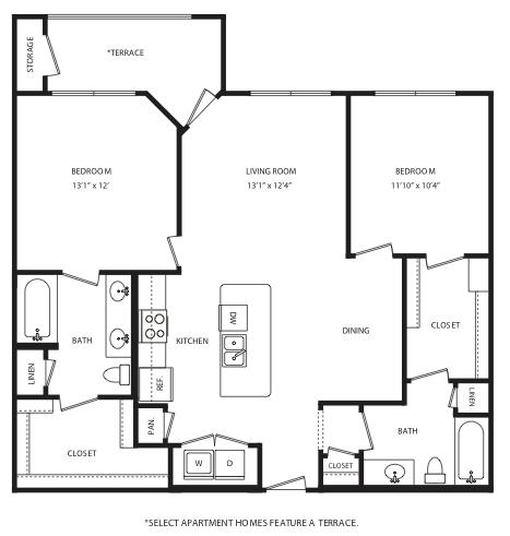 1,080 sq. ft. B3/B4 floor plan