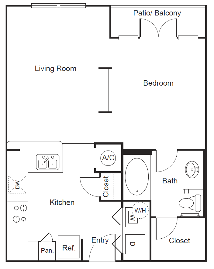 581 sq. ft. A1 floor plan