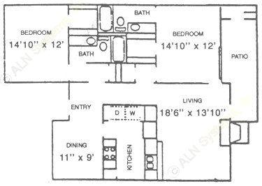 1,246 sq. ft. B1 floor plan