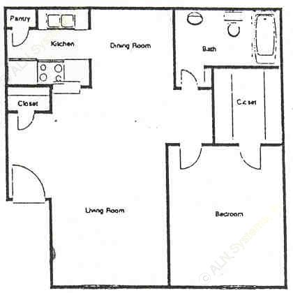 630 sq. ft. C floor plan