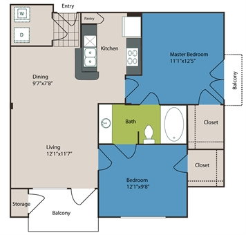 780 sq. ft. to 792 sq. ft. B1 floor plan