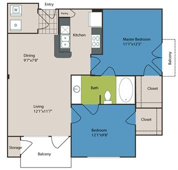780 sq. ft. to 792 sq. ft. B1 floor plan