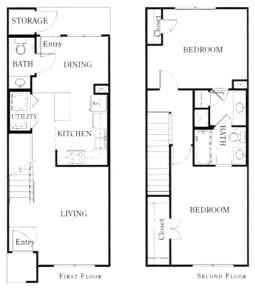 1,058 sq. ft. B21/50% floor plan