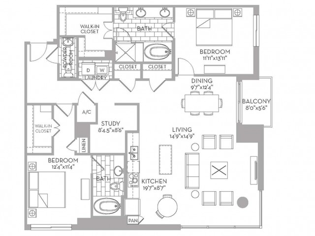 1,624 sq. ft. Douglas(B.6) floor plan