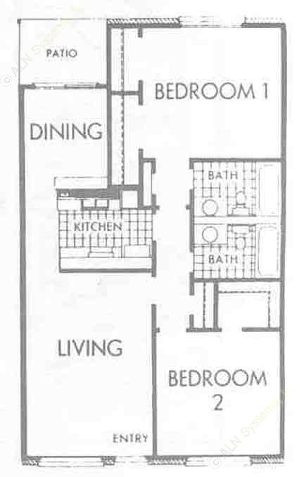 1,032 sq. ft. B3 floor plan