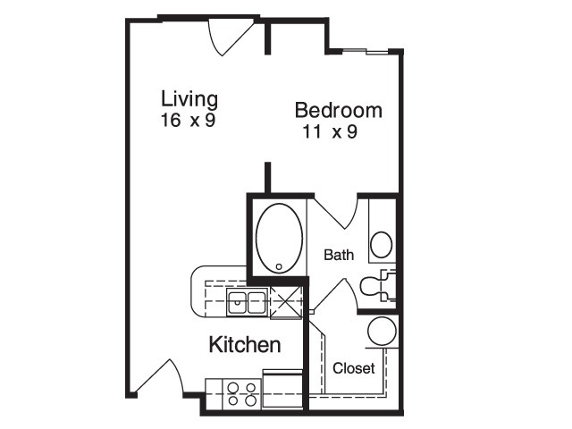 447 sq. ft. E1 floor plan