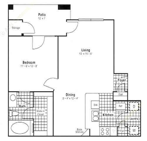 724 sq. ft. A5 floor plan