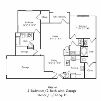 1,312 sq. ft. B2-g floor plan