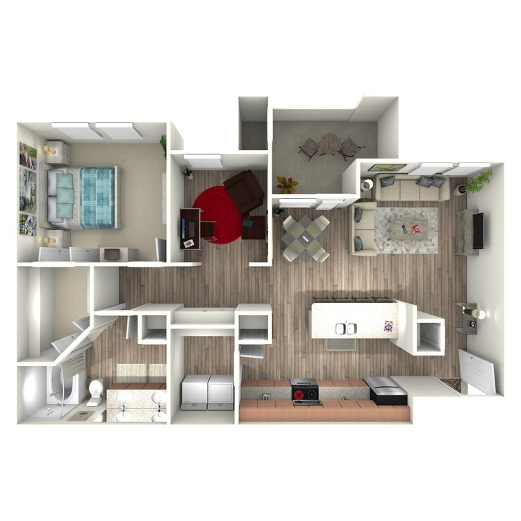 977 sq. ft. A6 floor plan