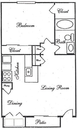 670 sq. ft. A4 floor plan