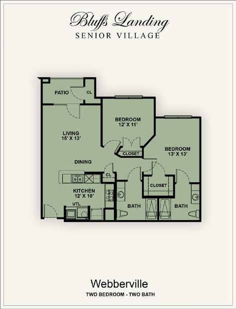 975 sq. ft. 60% floor plan