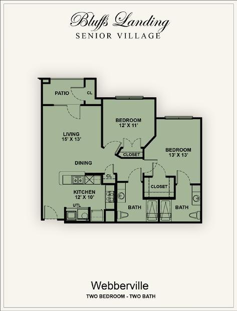 975 sq. ft. 60% floor plan