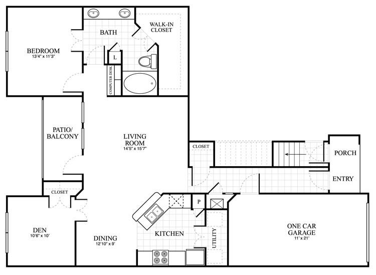 1,134 sq. ft. Ansleigh floor plan