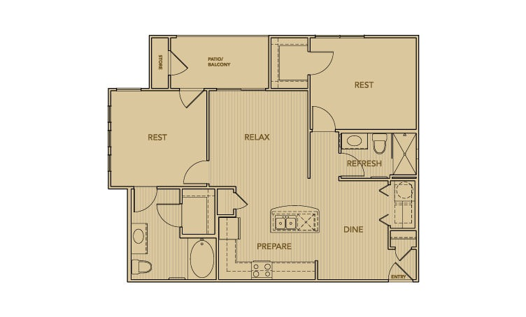 995 sq. ft. B1 floor plan
