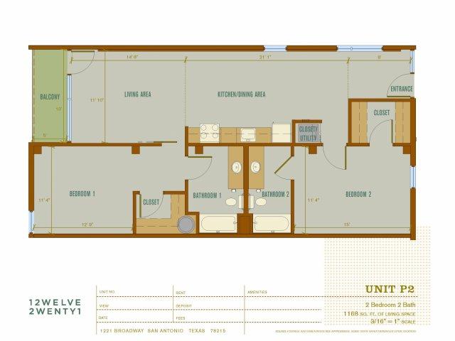1,168 sq. ft. P2 floor plan