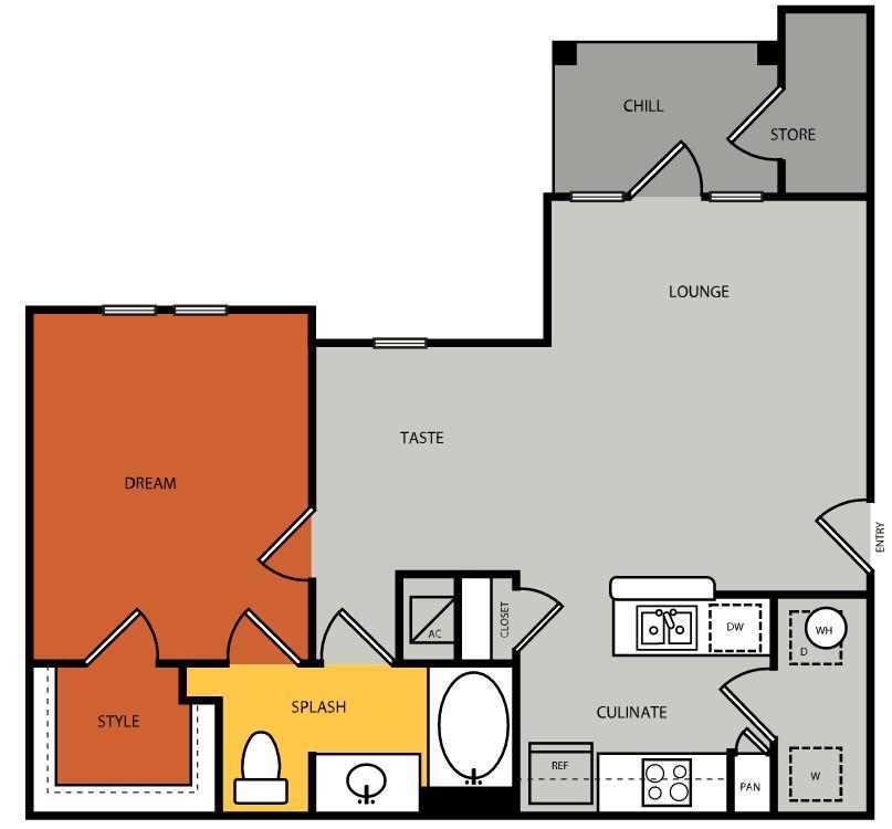 741 sq. ft. A2 floor plan