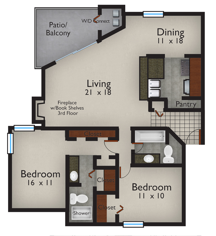1,255 sq. ft. B2 floor plan
