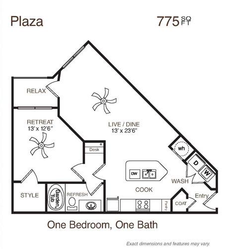 775 sq. ft. Plaza floor plan