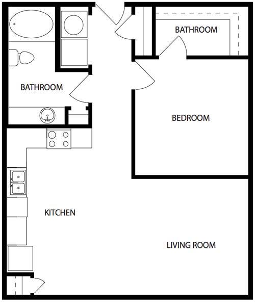 704 sq. ft. A1-2 floor plan