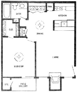 685 sq. ft. D floor plan