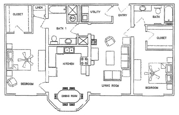 1,322 sq. ft. B floor plan