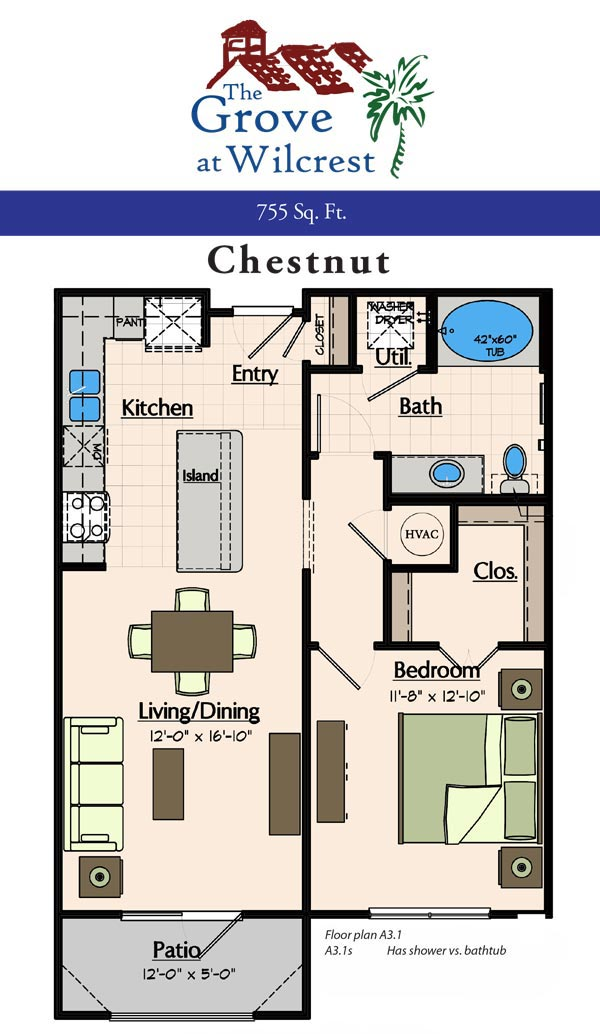 755 sq. ft. A3.1S floor plan