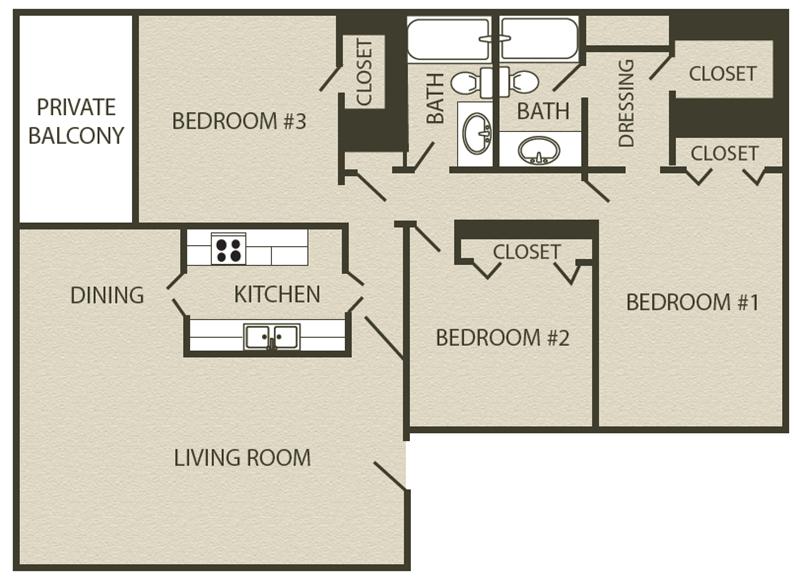 1,354 sq. ft. C1 floor plan