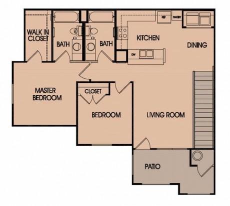 1,068 sq. ft. 60% floor plan
