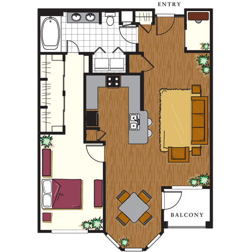 1,077 sq. ft. B4 floor plan