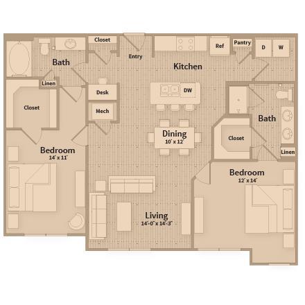 1,228 sq. ft. floor plan
