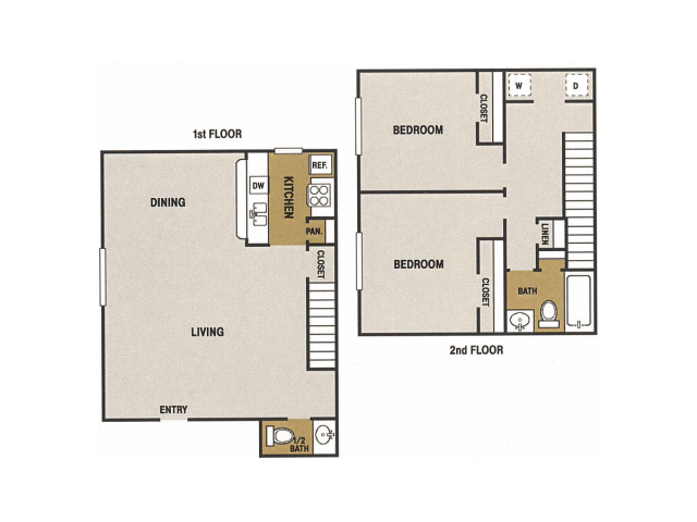 993 sq. ft. L floor plan