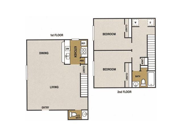 993 sq. ft. L floor plan