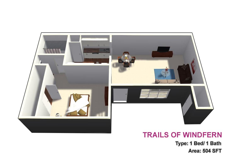 504 sq. ft. 1X1 floor plan
