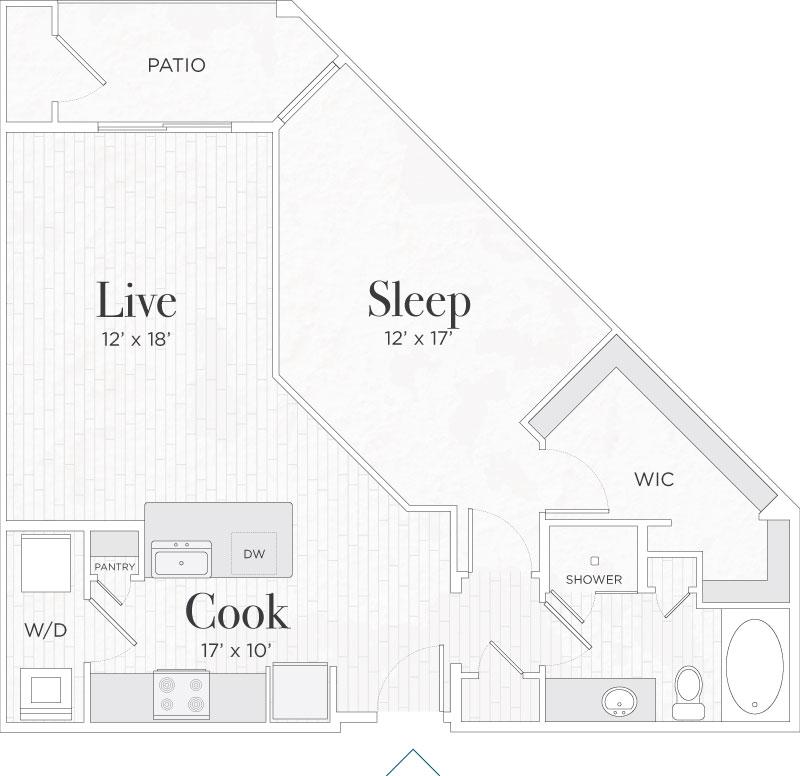 847 sq. ft. Lorenzo III floor plan