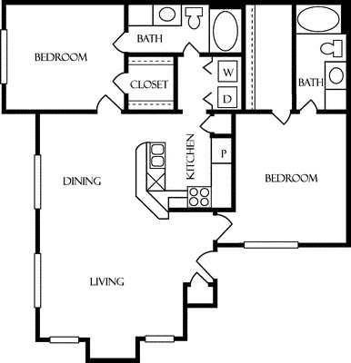 1,142 sq. ft. B2 floor plan