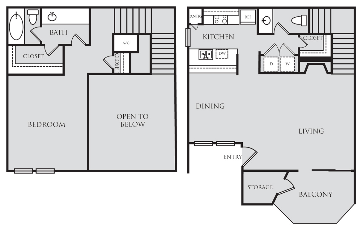 984 sq. ft. A8L floor plan
