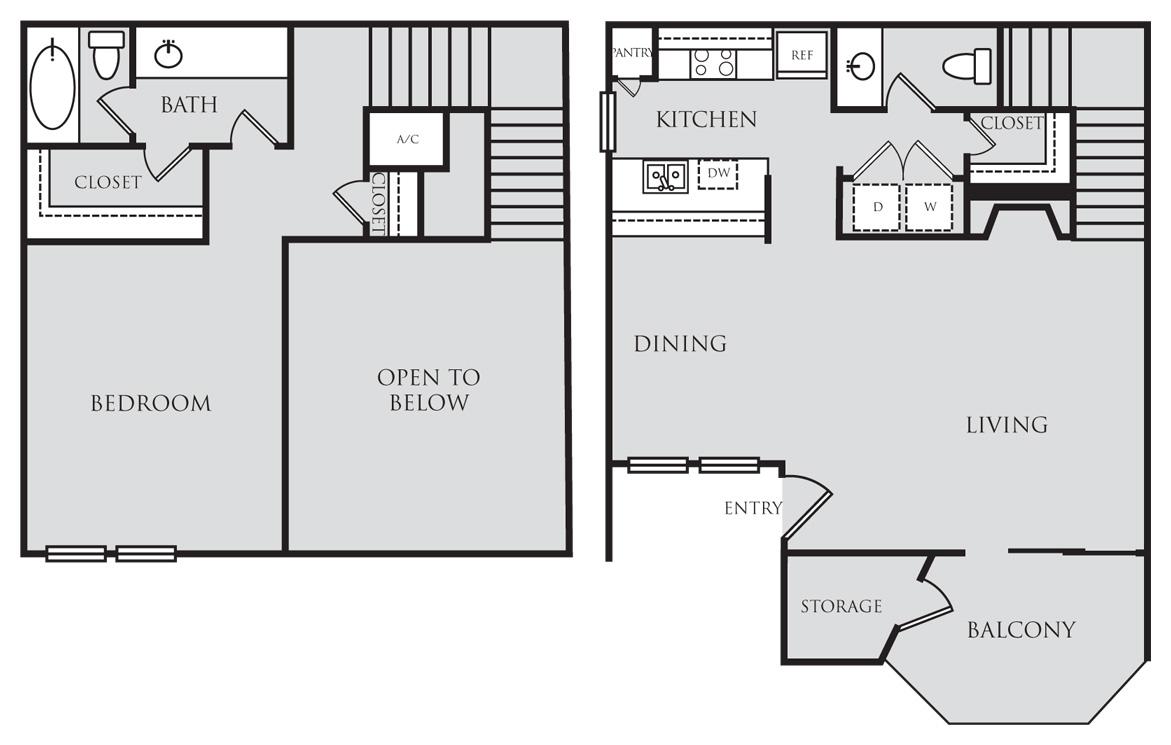 984 sq. ft. A8L floor plan
