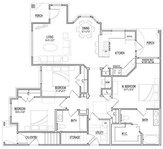 1,465 sq. ft. Villa D-este floor plan