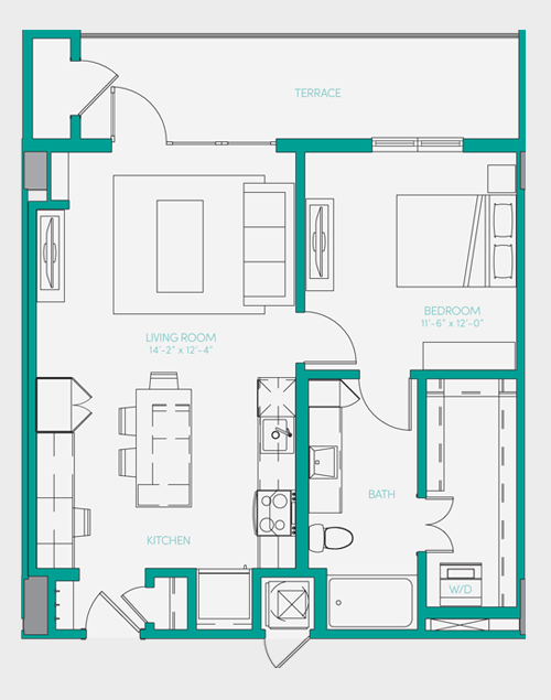 729 sq. ft. A1.9 floor plan