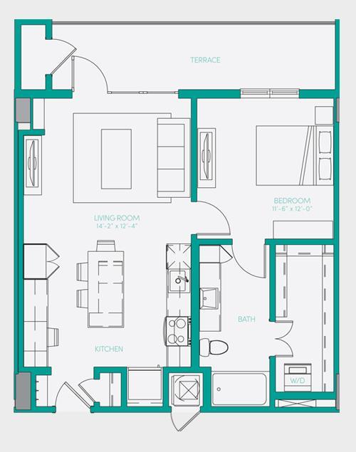 729 sq. ft. A1.9 floor plan